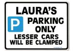 LAURA'S Personalised Parking Sign Gift | Unique Car Present for Her |  Size Large - Metal faced